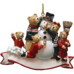 FAMILY OF 5 BEARS WITH SNOWMAN