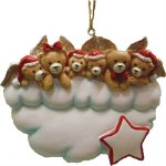 FAMILY OF 5 BEAR ANGELS ON CLOUD