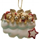 FAMILY OF 4 BEAR ANGELS ON A CLOUD