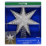 12 INCH SILVER STAR TREE TOP