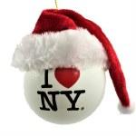 I LOVE NEW YORK BALL WITH SANTA HAT