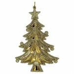 ACRYLIC GOLD AND BEIGE CHRISTMAS TREE