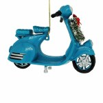 BLUE SCOOTER WITH WREATH