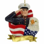 MARINE WITH FLAG, EAGLE BANNER