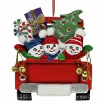 FAMILY OF 3 IN RED TRUCK