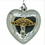 CADUCEUS ON GLASS HEART