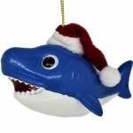 BLUE SHARK WITH SANTA HAT