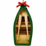 GREEN ROW BOAT WITH OARS