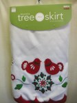 "48"" WHITE TREE SKIRT WITH BIRDS"