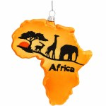AFRICA SHAPED GLASS ORNAMENT