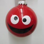 GOOFY FACE GLASS BALL RED