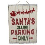 WOODEN SANTA'S PARKING SIGN