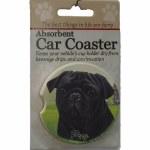 BLACK PUG CAR COASTER