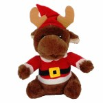 PLUSH MOOSE IN SANTA SUIT