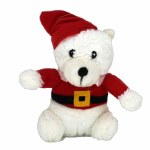 PLUSH POLAR BEAR IN SANTA SUIT