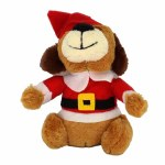 PLUSH DOG IN SANTA SUIT