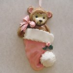 BABY BEAR IN PINK STOCKING