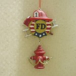 FIREMAN BANNER WITH HYDRANT