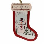 SNOWMAN WOOD STOCKING