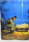 SOLDIER AT MANGER FLAG