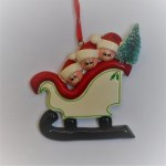 FAMILY OF 3, ELVES ON SLEIGH