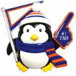 #1 FAN PENGUIN IN BLUE AND ORANGE