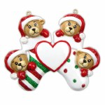 FAMILY OF 4 BEARS IN STOCKING