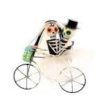 SKELETON COUPLE RIDING BIKE
