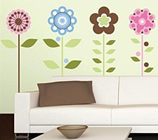 ROOMMATES WALL APPLIQUE - GROWING FLOWERS