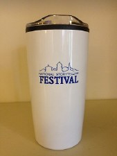 National Storytelling Festival Tumbler Blue on White