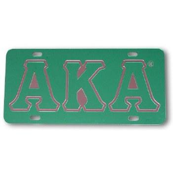 Alpha Kappa Alpha Green Mirror Car Tag