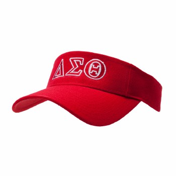 Delta Sigma Theta Embroidered Letters Red Visor