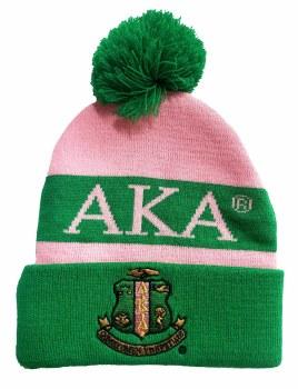 Alpha Kappa Alpha Pink Crest Folded Beanie