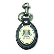 Alpha Kappa Alpha Leather Shield Keychain
