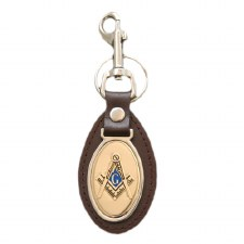 Mason Leather Shield Keychain