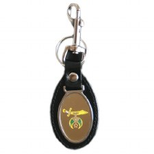 Shriner Leather Shield Keychain
