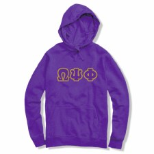 Omega Psi Phi Applique Letters Hoodie
