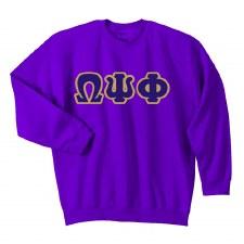 Omega Psi Phi Applique Letters Crewneck Sweatshirt