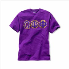 Omega Psi Phi Applique Letters Tee