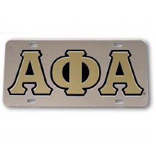 Alpha Phi Alpha Silver Background Car Tag