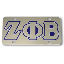 Zeta Phi Beta Silver Background Car Tag