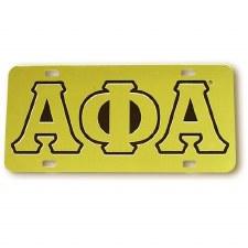Alpha Phi Alpha Gold Background Car Tag