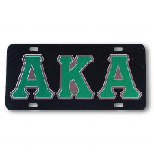Alpha Kappa Alpha Black Background Car Tag
