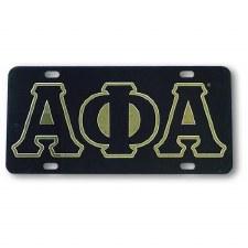 Alpha Phi Alpha Black Background Car Tag