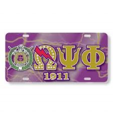 Omega Psi Phi Printed Crest Car Tag