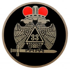 Mason 33rd Wings Down Brass Car Emblem