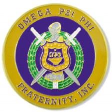 Omega Psi Phi Stamped Crest Car Emblem