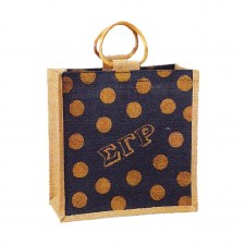 Sigma Gamma Rho Mini Polka Dot Jute Bag