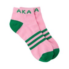 Alpha Kappa Alpha Striped Ankle Socks