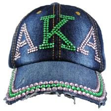 Alpha Kappa Alpha Denim Rhinestone Cap